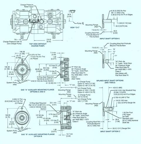 Sundstrand Sauer Danfoss Series 40 PV/PT Mounting Flange & Shafts
