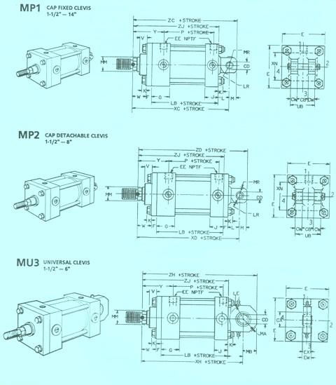 Rexroth Fixed/Detachable Clevis & Universal Mounts
