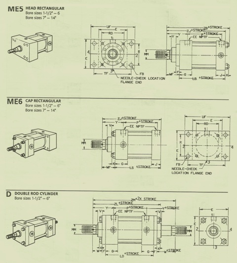 Rexroth Head & Cap Mounting Flange and Double Rod Cylinders