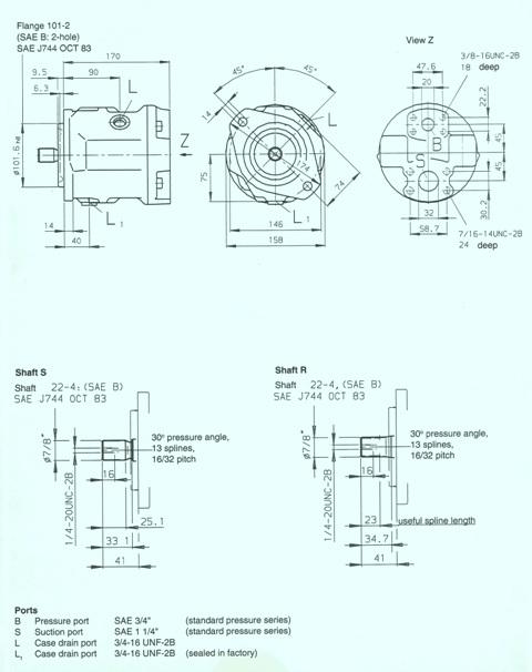 Rexroth A10V Variable Displacement Pump Series 31 Model 61NOO Unit Dimensions Size 28